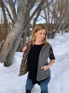 Puffy cheetah and olive vest