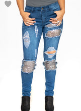Load image into Gallery viewer, L&B Distressed Sequined Jeans