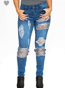 L&B Distressed Sequined Jeans