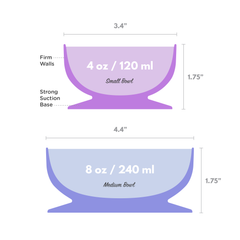 Silicone Suction Bowls sizing diagram