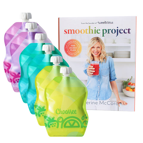 Smoothie Project by Weelicious + SnakPack Reusable Pouches | 6 CT, 8oz | TropiColor Designs