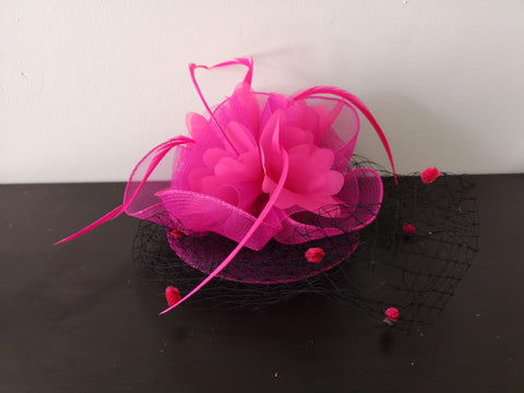 L&I Basic Fascinator with net Fuchsia