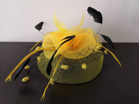 L&I Basic Fascinator with net Yellow/Black