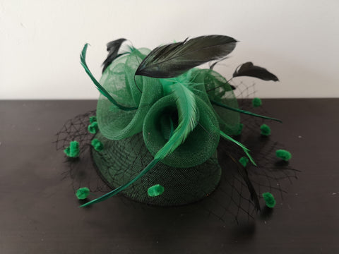 L&I Basic Fascinator with net Green/Black