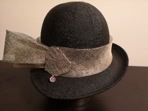 Canadian Hat Baku/Sinamay Trim Cloche Black