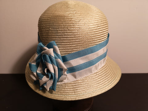 Canadian Hat Ribbon Trim Cloche Aqua
