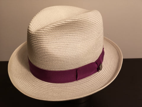 Stetson Latte Milan Fedora White/Purple