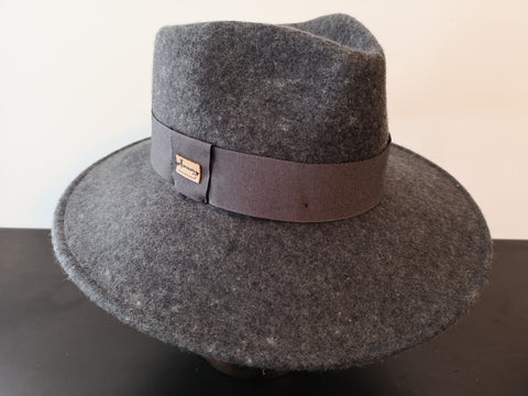 Herman Wide Brim Wool Fedora Grey