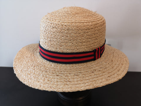 L&I Raffia Boater WIth Navy Red Band