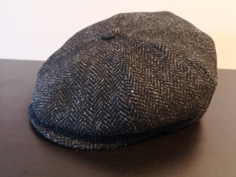 Bailey Galvin Herringbone Newsboy Cap Black