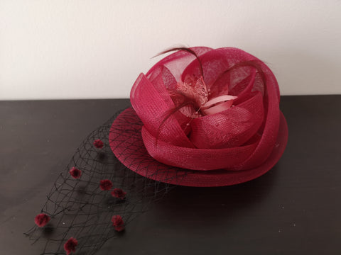 L&I Basic Fascinator FL.U with net Burgundy
