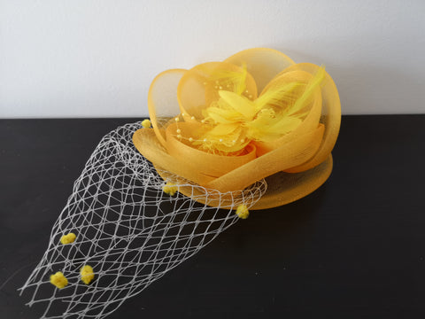 L&I Basic Fascinator FL.U with net Yellow