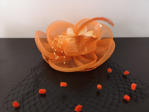 L&I Basic Fascinator FL.U with net Orange