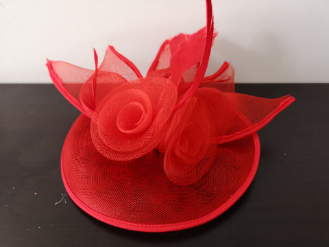L&I 5 leafs Fascinator Red