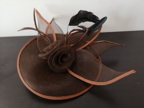 L&I 5 leafs Fascinator Brown