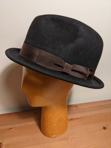 Magill Fur Felt Fedora Black with Brown Band