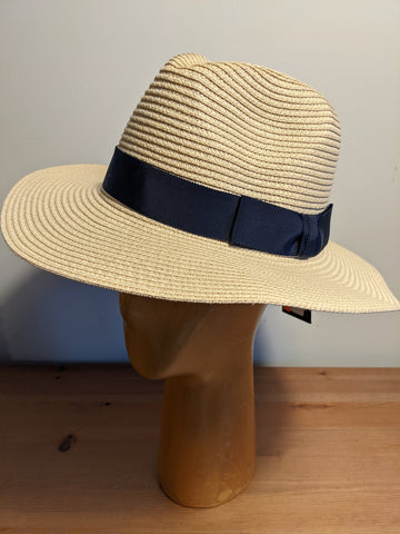 L&I Paper Straw Fedora Natural / Navy band