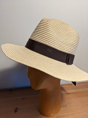 L&I Paper Straw Fedora Natural / Brown band