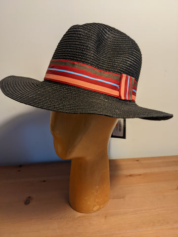 L&I Paper Straw Fedora Black / Color band