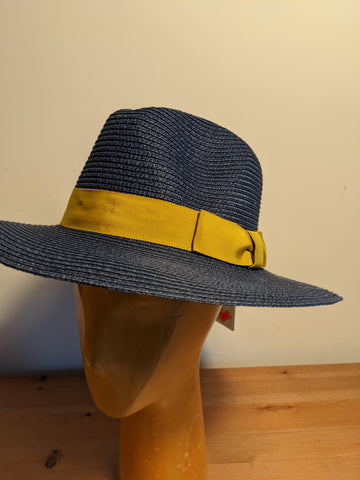 L&I Paper Straw Fedora Navy / Gold band