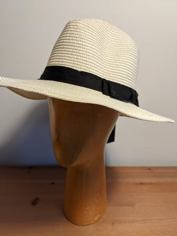 L&I Paper Straw Fedora Bleach / Black band