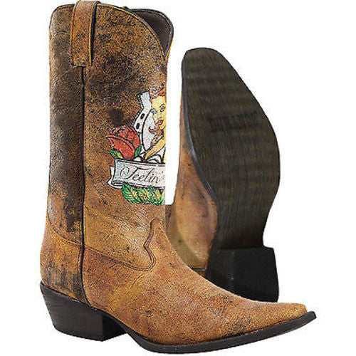 Durango DB008 Pin Up Gambler Antiqued Brown Leather Western Snip Toe Boot