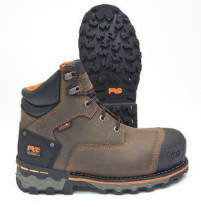 Timberland Boondock Brown Leather Composite Toe Waterproof Puncture Resistant Anti-Fatigue Work Boots TB092615214