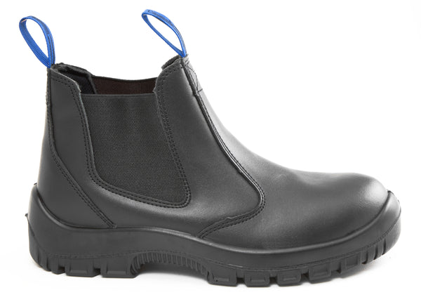 CB Stomp 2.0 Pull On Black Leather Steel Toe Slip Resistant Work and Station Boot