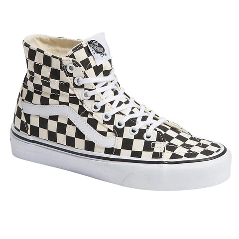 Vans Tapered SK8 Hi Natural and Black Checkerboard Skate Shoes