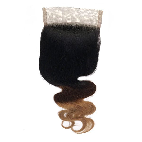 3 Color Ombre Body Wave Closure