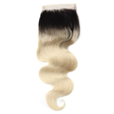 Blonde with Black Roots Body Wave Closure - Bossette Hair