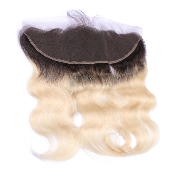 613 Blonde With Black Roots Body Wave Frontal - Bossette Hair