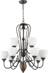 0-009230>Powell 9-light Chandelier Oiled Bronze w/ Satin Opal