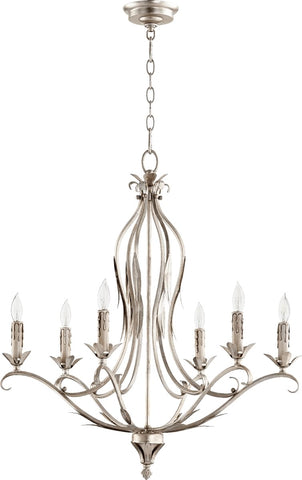 0-002324>Flora 6-Light Candelabra Chandelier Aged Silver Leaf