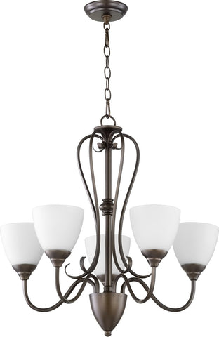 0-009220>Powell 5-light Chandelier Oiled Bronze w/ Satin Opal