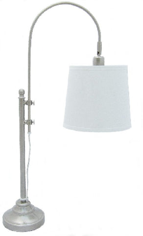 0-009616>OPEN BOX Adjustable Table Lamp Satin Nickel with White Shade