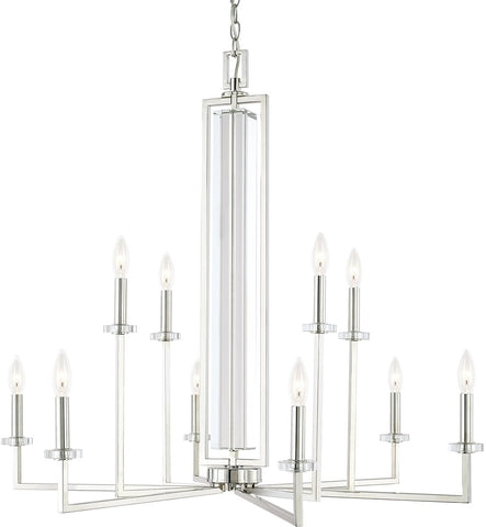 0-026999>Hudson 10-Light Chandelier Polished Nickel