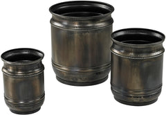 0-011318>14 inchh Set of 3 Oxidised Planters Oxidized Metal