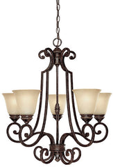 0-030697>26 inchw Barclay 5-Light Chandelier Chesterfield Brown