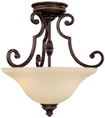 0-016489>18 inchw Barclay 2-Light Semi-Flush Fixtures Chesterfield Brown