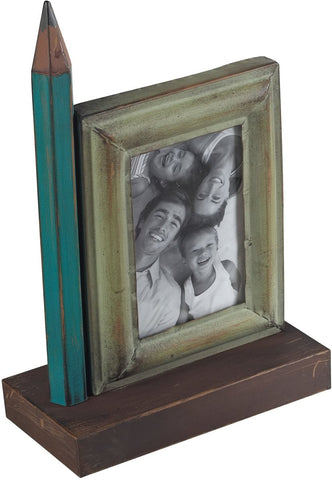 0-023123>Pencil Picture Frame Green/Brown