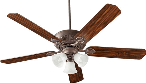 0-031102>Chateaux Uni-Pack 3-Light Ceiling Fan Toasted Sienna/Faux Alabaster