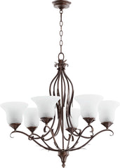0-002348>Flora 6-Light Gls Chandelier Vintage Copper