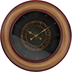 0-018216>30 inchh Large Clock with Distressed Handpainted Frame Matte Gold