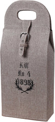 0-025911>Linen Wrapped Wine Case Natural Linen