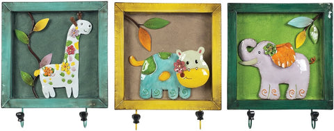 0-030358>Set of 3 Animal Picture Hook Impact Yellow/Teal/Glaze