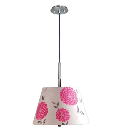 0-000849>Satin Nickel Pendant Light with Floral Pink Barrel Shade and Diffuser