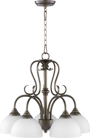 0-001990>Powell 5-light Nook Chandelier Oiled Bronze w/ Satin Opal