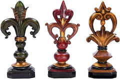 0-017259>10 inchh Set of 3 Pediment Finials Brown