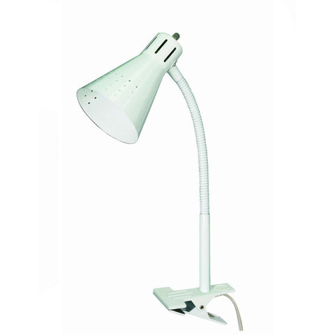 0-005322>Clip-on Gooseneck Desk Lamp White 60/832